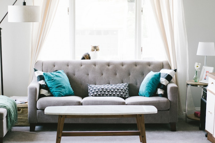 A living room with a gray sofa, blue accent pillows, and a small rounded coffee table.